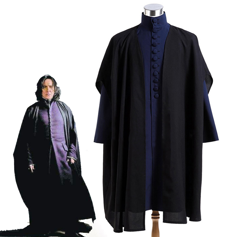 Deathly Hallows Professor Severus Snape Cosplay Costume Halloween Carnival Black Robe Cloak Hogwarts School Uniforms Custom Made