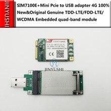 Sim7100e mini pcie simcom + pcie para cartão de transferência usb 100% novo & original TDD LTE/FDD LTE/wcdma incorporado quad band em estoque