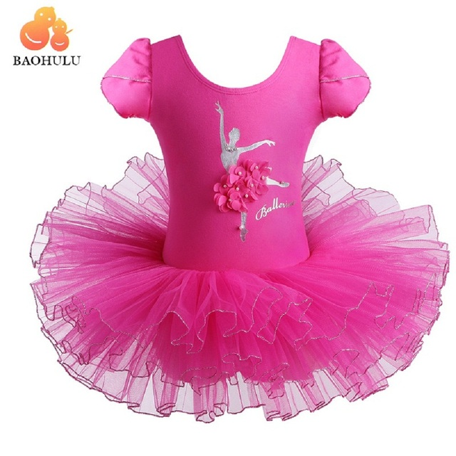 8ba42fe0e BAOHULU Short Sleeve Pearls Cartoon Dancer Kids Dress Ballet Skate ...