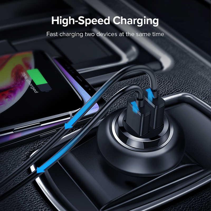 GOOJODOQ ミニ高速デュアル USB 車の充電アダプタ 3.1A 車の充電タブレット携帯電話車の充電器ダブル USB 電話充電器