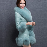 B woman jacket long section of the winter Faux fur coat fox fur pu leather female mink coat Leather grass women long coat