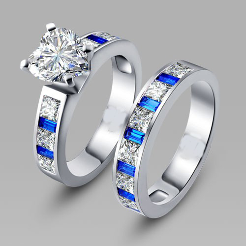 Heart Cut White and Blue Cubic Zirconia Silver Womens Wedding Ring