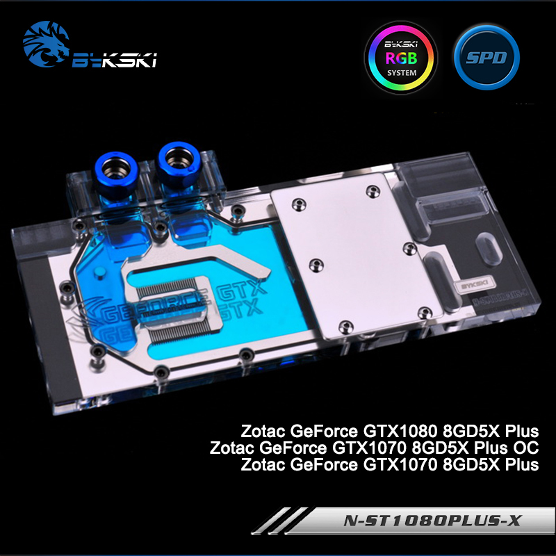 Bykski N-ST1080PLUS-X Full Cover Graphics Card WaterCooling Block RGB/RBW/ARUA for Zotac GTX1080 8GD5X Plus,GTX1070 Plus/Plus OC computador cooling fan replacement for msi twin frozr ii r7770 hd 7770 n460 n560 gtx graphics video card fans pld08010s12hh