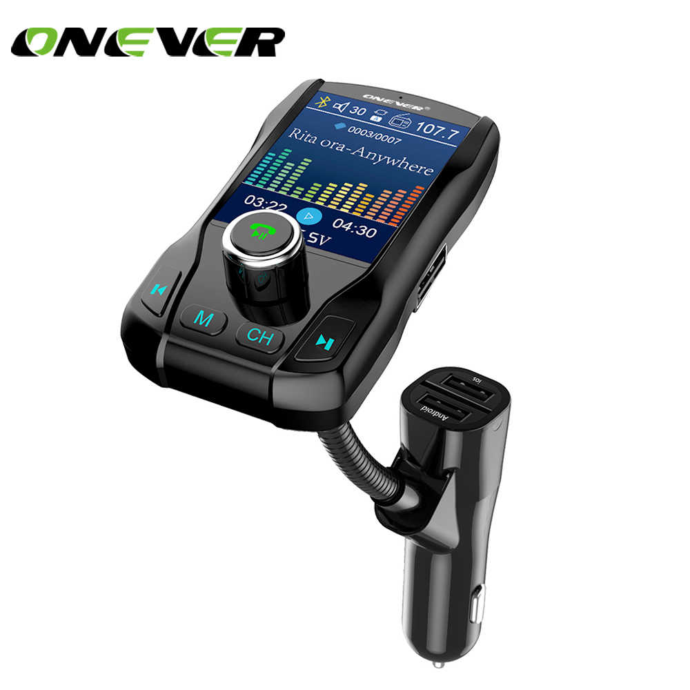 Onever Wireless Bluetooth FM Transmitter Modulator Hands-free Car Kit 1.8 Inch Color Screen MP3 Player with 5V 3.1A Dual USB