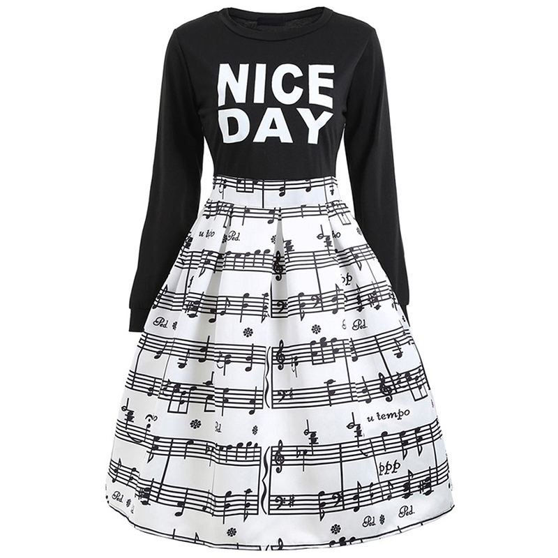 Women English Letters Patterns Pieced-in Flare Dress Musical Notes Print Long Sleeves Flare Dress Nov20