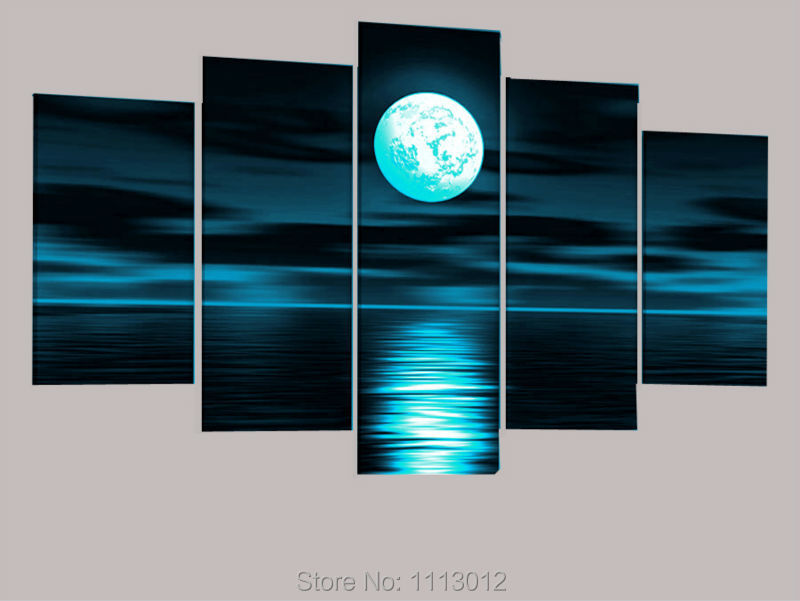 High Quality Blue Sea Moon Sky Oil Painting On Canvas 5 Pcs Sets Home Wall Art Picture For Living Room Decoration Modern Sale