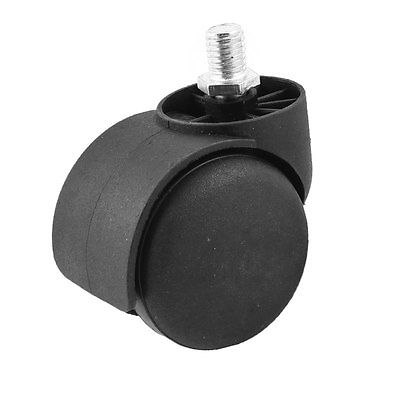10mm Thread Diameter 2 Wheel Rotatable Caster Black for office Chair clos 33mm metal mounted plate 38mm plastic dual wheel rotatable caster