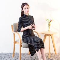 2018 New Black Sexy Chinese Women Dress Classic Cotton Stripe Slim Long Qipao Lady Elegant Tight