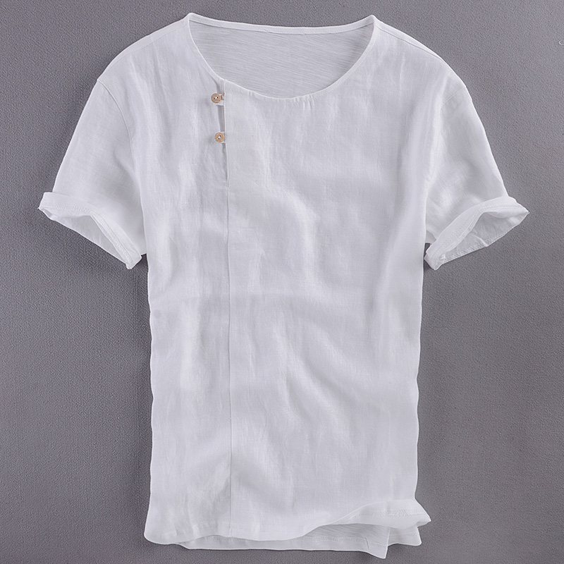 Summer new mens linen short-sleeved t-shirt loose Chinese style O-neck t shirt men pure flax white tshirt male camisetas hombre