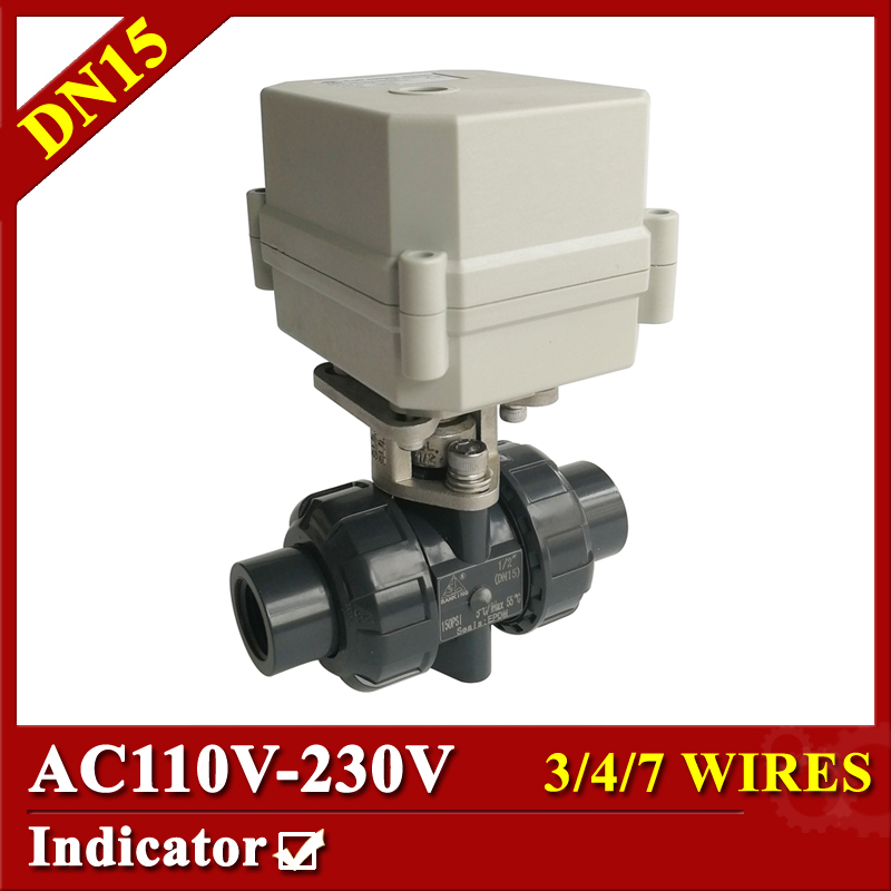 Tsai Fan electric ball valve 1/2 AC110-230V plastic Motorized ball valve 3/4/7 wires DN15 BSP/NPT for automatic control systems time electric valve ac110v 230 3 4 bsp npt for garden irrigation drain water air pump water automatic control systems