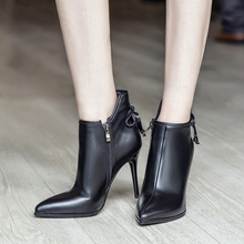 2016 Autumn Women's Sexy Thin High Heel Poined Toe Ankle Boots Genuine Leather Brand Designer Short Booties Winter Shoes Women