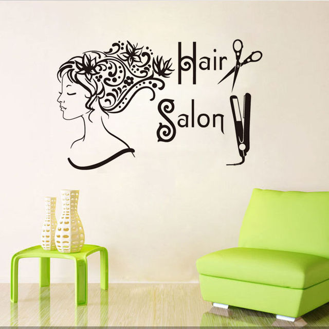 Hairdressing Decorative Vinyl Wall Decal Hair Salon Beauty Shop ...