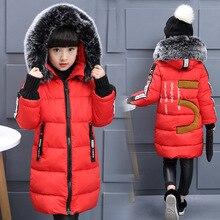 2019 filles hiver nouveau coton vestes enfants mode fourrure col lettres manteaux fille épaississement à capuche chaud veste enfants vêtements