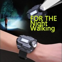 Outdoor Sports Flashlight EDC Survival Rechargeable Wrist Watch Wristband Night Riding Professional Camping Running Lights Black