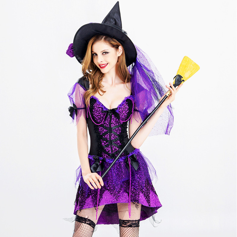 high quality Diamonds Witch Costume For Adult Women Halloween Carnival In Sexy Uniform High Quality Fancy Dress Cosplay Party