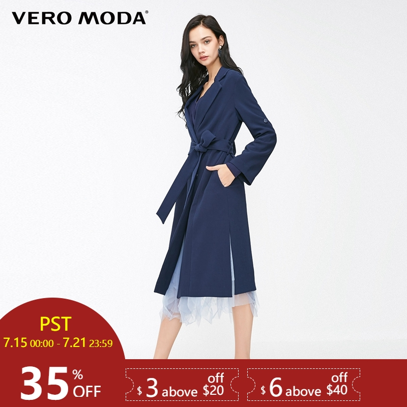 Vero Moda 2019 New Women's Double-breasted Side Slits Wind Coat Long   Trench   Coat | 318321533