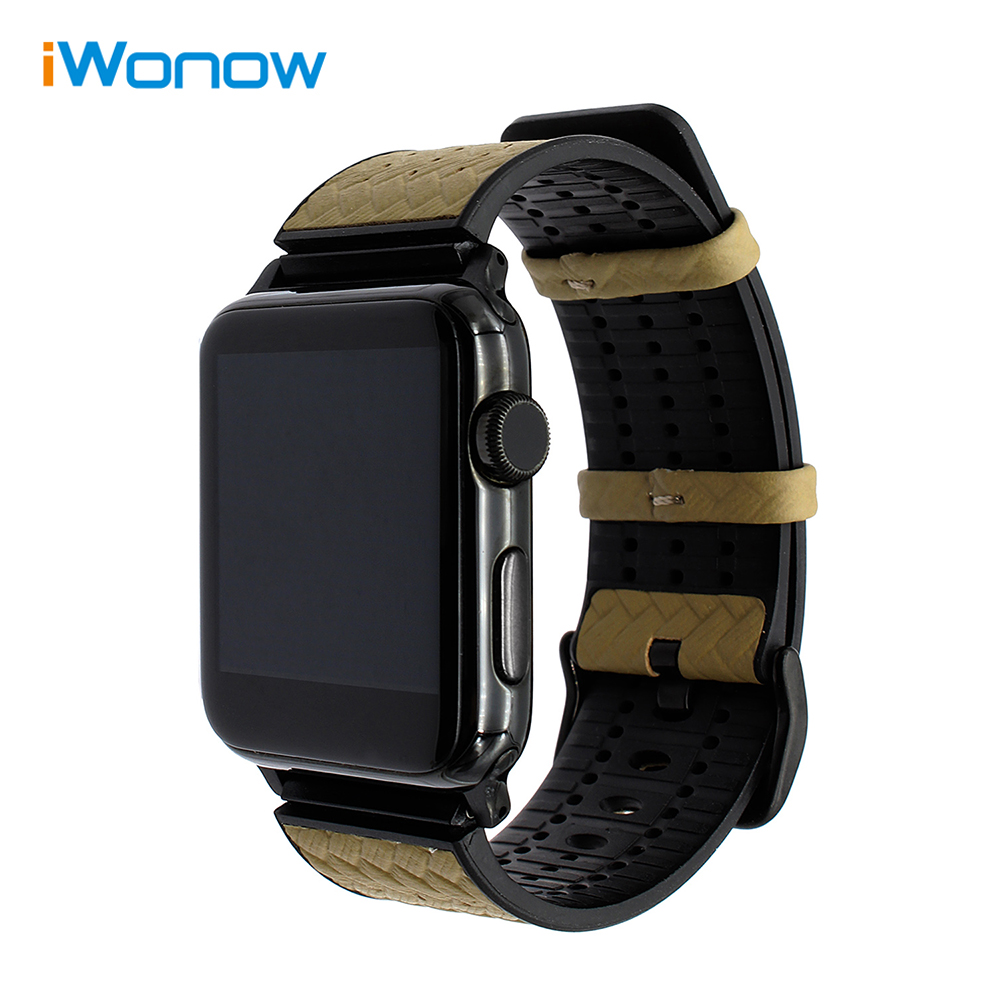 Italian Genuine Leather & Resin Watchband + Upgraded Adapters for 42mm iWatch Apple Watch Wrist Band Steel Buckle Strap Bracelet genuine leather classic buckle watch straps wrist band for apple watch 42mm red