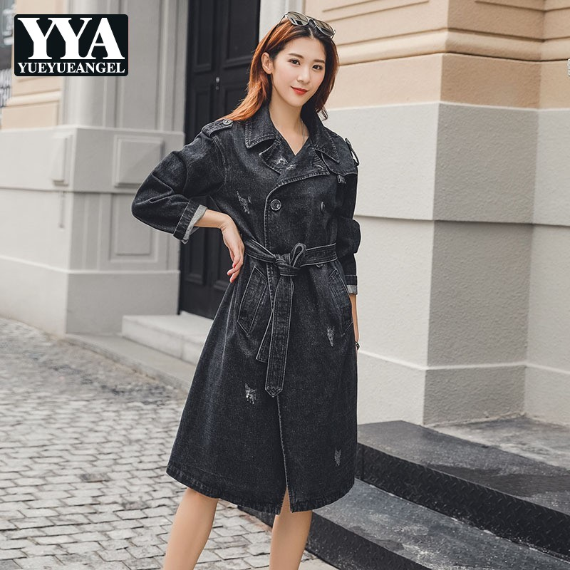 2019 New Fashion Women Long   Trench   Coat Black Denim Office Lady Belted Double Breasted Windbreaker Jeans Coat Loose Fit   Trench