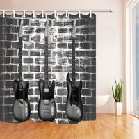 Music Decor Vintage Guitar On Brick Wall Shower Curtains Polyester Fabric Waterproof Bathroom Bath Curtain