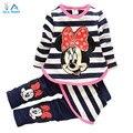 2015 novos do bebê meninas Conjuntos de Roupas de Moda primavera/Outono 2 pcs Terno Stripe dos desenhos animados Do Bebê Meninas Conjuntos de Roupas bonito Shirt + Calças