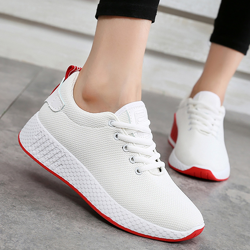 e56686fe68158 Comfortable Sneakers for Girls Breathable Air Mesh Women Casual Shoe Solid  Wedges Summer Shoes Woman White size 4-7.5