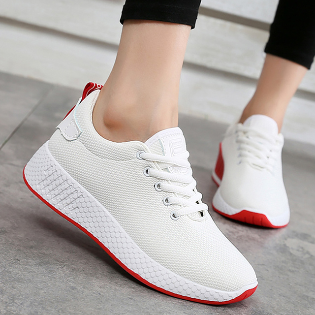 Comfortable Sneakers for Girls Breathable Air Mesh Women Casual Shoe Solid Wedges Summer Shoes Woman White size 4-7.5