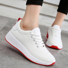 Comfortable women sneakers air mesh spring/autumn shoes solid black/white/pink female shoes zapatillas mujer plus size 34-40