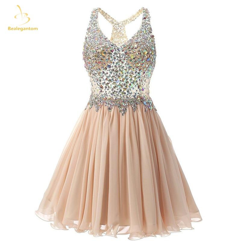 Bealegantom 2018 New Sexy Scoop Beaded Short Homecoming Dresses With Crystals Prom Party Dresses Graduation Dress QA1451