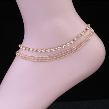 Women's Multi-layer alloy Chain Rhinestone Crystal Anklet Foot Chain 3