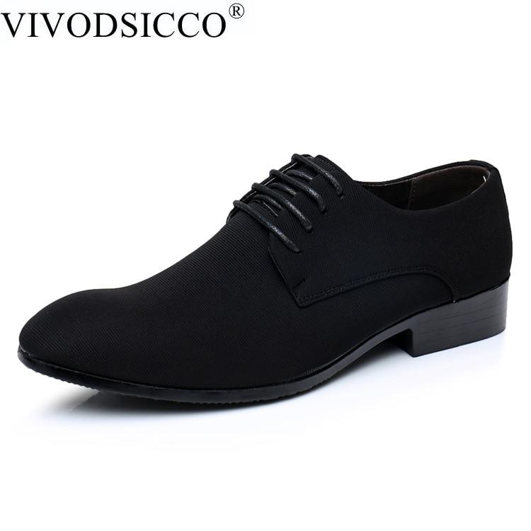 VIVODSICCO Men Oxfords Shoes Pointed Toe Suede Leather Lace-Up Men Dress Shoes Flats Black Fashion Nubuck Leather Wedding Shoe