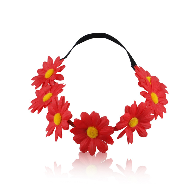 womens bohemian flower headband crown woman floral boho headbands Party Wedding elastic Beach hair accessories for women flowers