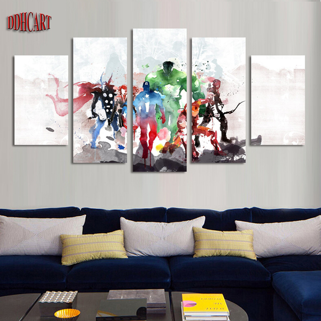 5 Piece Canvas Art Wall Prints Painting Home Decor Poster The Avengers Picture Modern