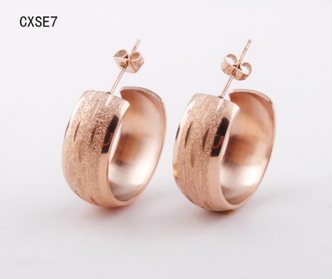 <font><b>wholesale</b></font> <font><b>New</b></font> <font><b>arrival</b></font> <font><b>Hot</b></font> <font><b>Sales</b></font> Fashion Jewelry Women's 316l <font><b>Stainless</b></font> Steel rose Gold <font><b>color</b></font> Earrings For men or Women CXSE7