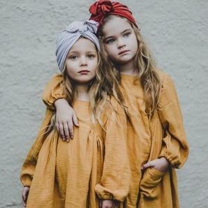 Брендовая одежда для маленьких девочек, осень 2020, однотонное льняное платье в европейском и американском стиле для девочек ясельного возра...