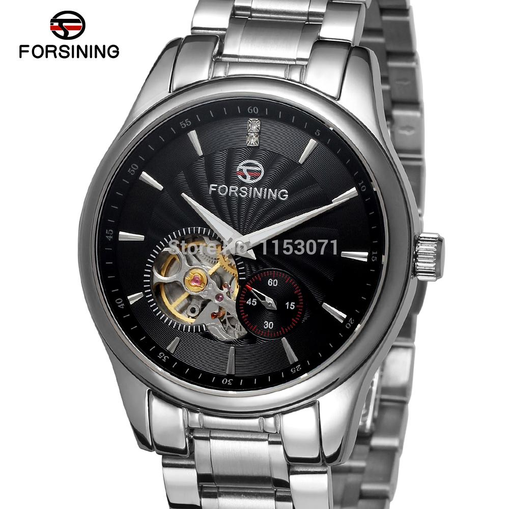где купить  FSG9406M4S2 Forsining new arrival Automatic stainless steel luxury men's watch with stainless steel band free shipping  gift box  по лучшей цене