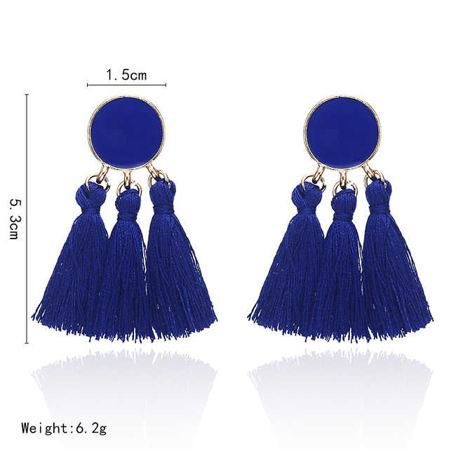 Bohemia Statement Tassel Gold Color Round Drop Earrings 1