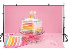 7x5ft Birthday Cake Backdrop Pink Warm Colorful Photography Background and Studio Props