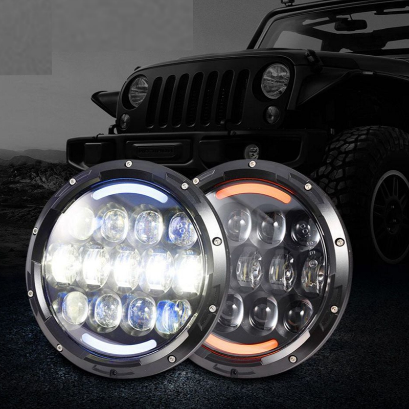 For Wrangler 7 Inch Round 105W LED Projector Headlights Angel Eyes Halo Ring White DRL for 1997-2016 JK TJ LJ Sahara Rubicon