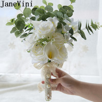 JaneVini Artificial Green Eucalyptus Leaves Bridesmaid Bouquet White Rose Calla Lily Bridal Brooch Bouquet Pearl Wedding Flowers