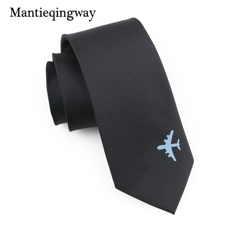 Mantieqingway Fashion Airplane Solid Color Polyester 8cm Neck Tie For Men Suit Mens Business Tie Gravats Black Corbatas Necktie