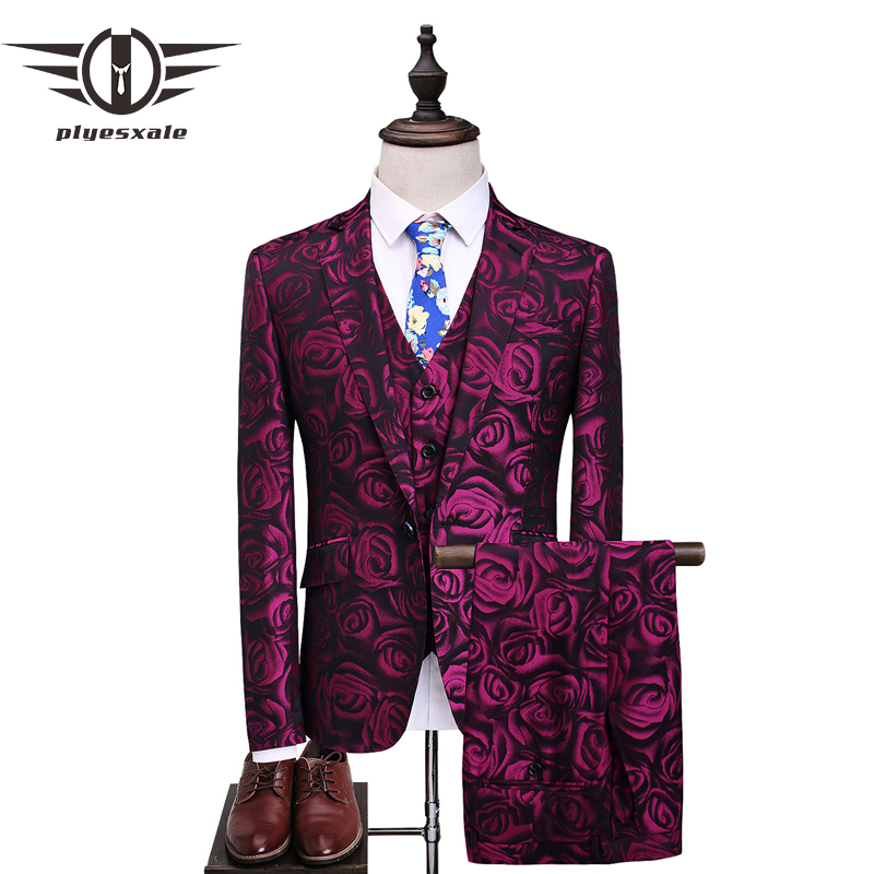 Fire Kirin Floral Suit Men 2017 Purple Rose Flower Pattern Wedding Suits For 4XL 5XL Slim Fit Mens Party Prom Q357
