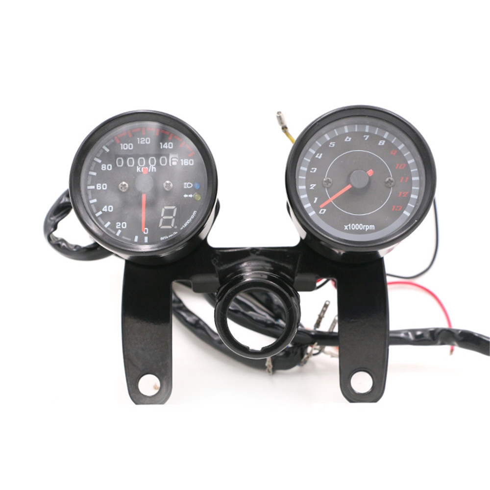 1 set Odometer Motorcycle Speedometer with LED Backlight Moto Instrument Tachometer Motorbike Accessories Scooter Gauge Panel old school motorcycle gauges