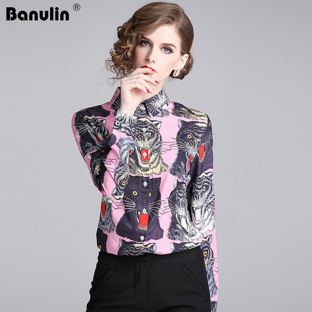 83fb988f5442d US $17.98 40% OFF|Banulin new 2018 fashion designer runway women blouses  long sleeve shirt tiger print women blouses plus size XXL female blouse-in  ...