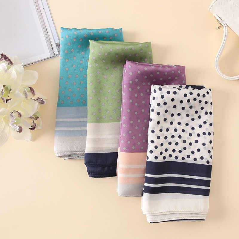 Lenço de moda luxo 100% lenço de seda feminino cachecóis xale alta qualidade designer pontos impressão hijab envoltório 2018 tamanho grande