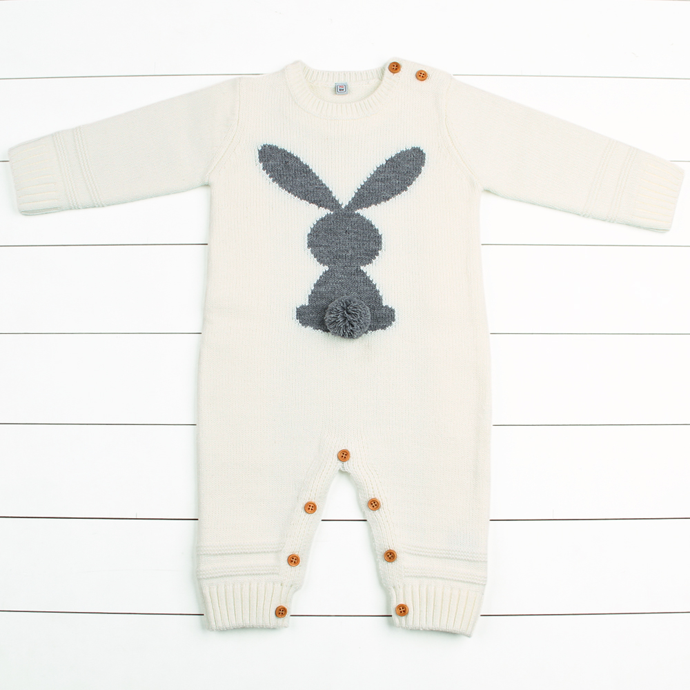Newborn Boys Rompers Cute Animal Rabbit Knit Baby Girls Jumpsuits Winter Warm Infant Kids Overalls Autumn Toddler Bunny Clothing цена