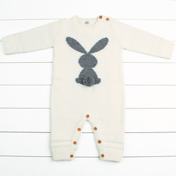 Newborn Boys Rompers Cute Animal Rabbit Knit Baby Girls Jumpsuits Winter Warm Infant Kids Overalls Autumn Toddler Bunny Clothing