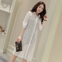 New Spring Casual Women Shirts Full Sleeve Striped Slim Sexy White Long Is Prevented Bask Clothes