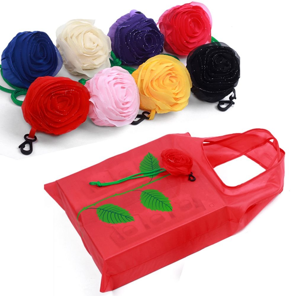 2020 Hot Sale New Fashion Multi-color Rose Flower Reusable Eco Bags Foldable Shopping Travel Grocery Bag New Arrival