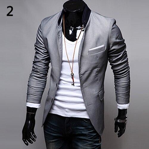 f7fbb6d720 Men s British Style Office Casual Suit Coat Two Buttons Pocket Slim Fit  Suit Coat Jacket