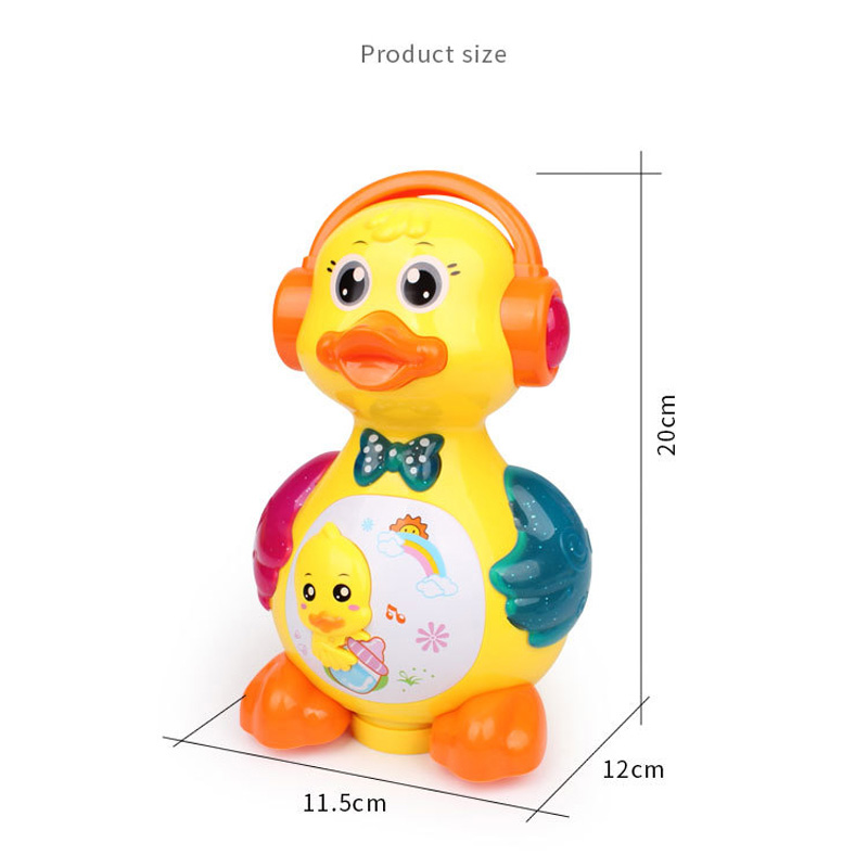 Купить с кэшбэком Music laying duck Battery Operated Toy Figure Action Toy with Flashing Lights Electric Universal Musical Baby Toys